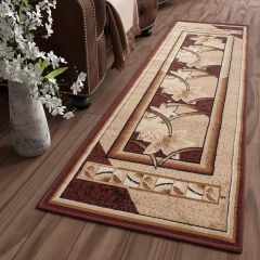 ATLAS Modern Carpet Runner Short Pile Flower Frame Cream Brown