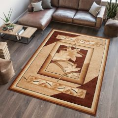 ATLAS Area Rug Modern Contemporary Short Pile Floral Beige Brown