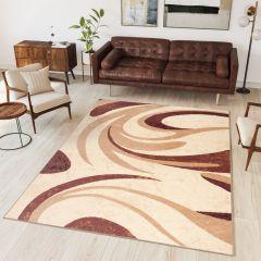 DREAM Area Rug Modern Short Pile Waves Designer Cream