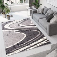 DREAM Area Rug Modern Designer Short Pile Wavy Light Dark Grey