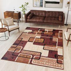 DREAM Area Rug Modern Short Pile Designer Abstract Shapes Brown
