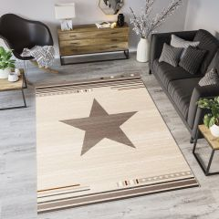 MAROKO Teppich Kurzflor Modern Stern Creme Beige Meliert