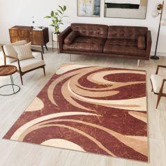 DREAM Area Rug Modern Short Pile Waves Designer Brown Beige