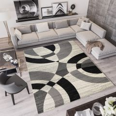 QMEGA Area Rug Modern Abstract Shapes Light Dark Grey Black