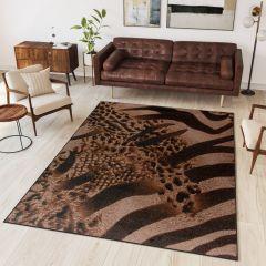 SCARLET Teppich Kurzflor Gepard Zebra Braun Modern Tiermotiv