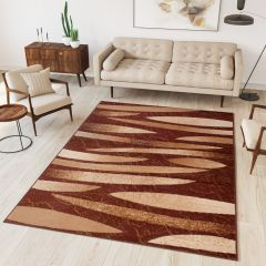 DREAM Area Rug Modern Short Pile Abstract Stripes Brown Beige