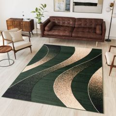 DREAM Modern Area Rug Short Pile Abstract Waves Green
