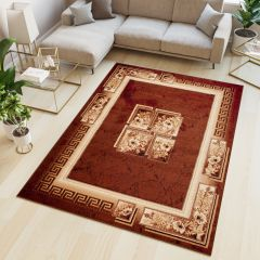 ATLAS Area Rug Traditional Classic Greek Floral Brown Beige