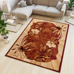 ATLAS Area Rug Modern Contemporary Short Pile Floral Brown Beige