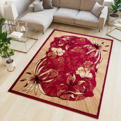 ATLAS Area Rug Modern Short Pile Floral Burgundy Red Beige