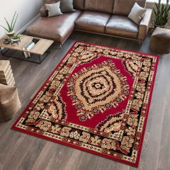 ATLAS Area Rug Traditional Classic Short Eye Mosaic Burgundy Beige