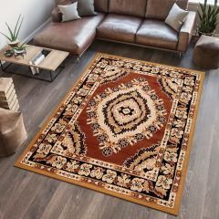 ATLAS Area Rug Traditional Classic Short Mosaic Eye Brown Beige