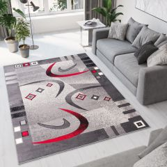 DREAM Modern Area Rug Short Pile Abstract Shapes Grey Red
