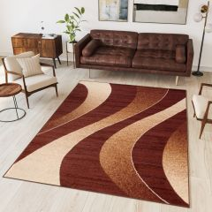 DREAM Modern Area Rug Short Pile Abstract Waves Brown Beige