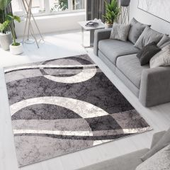 DREAM Area Rug Modern Short Pile Abstract Geometric Shapes Grey