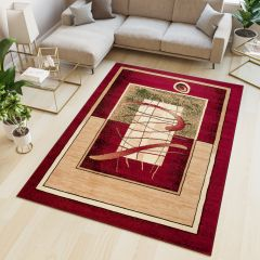 ATLAS Area Rug Modern Abstract Designer Short Pile Beige Red