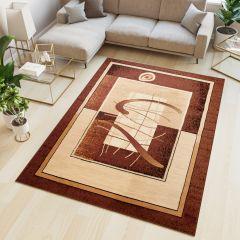 ATLAS Teppich Kurzflor Modern Streifen Meliert Braun Creme