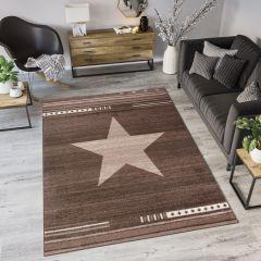 MAROKO Teppich Kurzflor Modern Stern Dunkelbraun Design Meliert