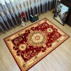 YESEMEK Area Rug Short Pile Traditional Decorative Ornament Red