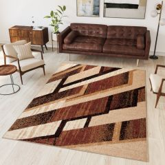 DREAM Area Rug Modern Short Pile Designer Shapes Beige Brown