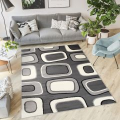 DREAM Teppich Kurzflor Modern Grau Weiß Figuren Design