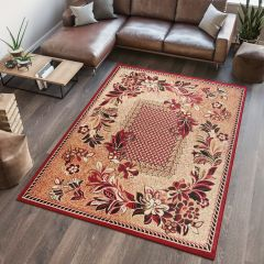 ATLAS Area Rug Floral Modern Short Pile Flower Beige Red