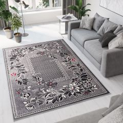 DREAM Area Rug Modern Classy Short Pile Floral Ornamental Grey