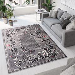 DREAM Teppich Kurzflor Grau Rot Creme Schwarz Floral Design