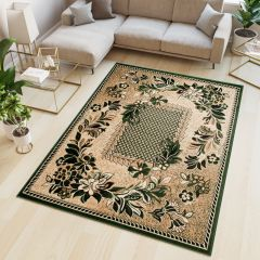ATLAS Area Rug Floral Modern Short Pile Flower Beige Green