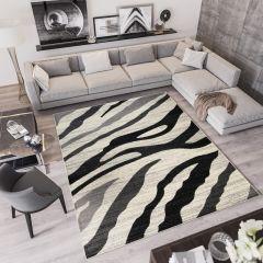 QMEGA Vloerkleed Creme Zwart Design Modern Golven Interieur