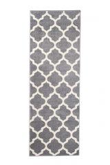 MAROKO Läufer Teppich Kurzflor Marokkanisch Design Grau Creme