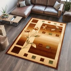 ANTOGYA Area Rug Abstract Flower Geometric 3D-Effect Brown