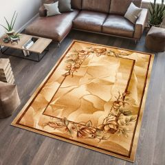 ANTOGYA Area Rug Elegant Floral Abstract 3D-Effect Light Beige