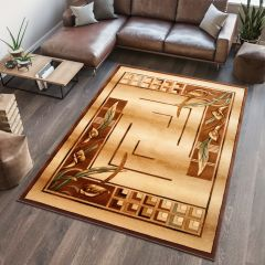 ANTOGYA Area Rug Floral Abstract 3D-Effect Beige Brown