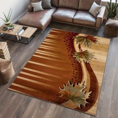 ANTOGYA Area Rug Abstract Autumn Leaves 3D-Effect Brown