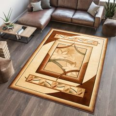 ANTOGYA Area Rug Modern Flower 3D-Effect Cream Brown
