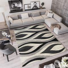 QMEGA Vloerkleed Creme Zwart Modern Interieur Abstract Duurzaam