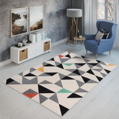CAN Area Rug Short Pile Triangle Geometric Modern Cream Grey
