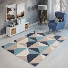 CAN Tappeto Geometrico Moderno Chiaro Multicolore Blu