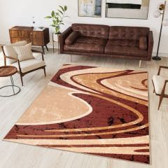 DREAM Area Rug Modern Designer Short Pile Wavy Brown Beige