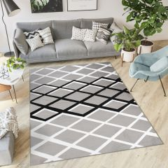 LUXURY Modern Area Rug Short Pile Geometric Lines Grey White