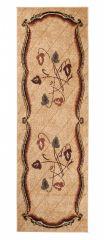 Atlas Teppich Läufer Braun Beige Streifen Floral Design