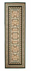 Atlas Teppich Läufer Klassisch Grün Creme Floral Design