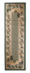Atlas Teppich Läufer Grün Beige Karo Floral Modern Design