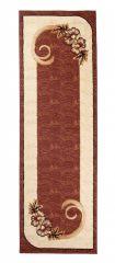 Atlas Teppich Läufer Modern Creme Braun Floral Design