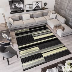 QMEGA Area Rug Modern Abstract Stripes Lines Dark Grey Black