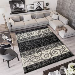 QMEGA Vloerkleed Zwart Creme Design Modern Abstract Duurzaam