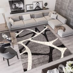 QMEGA Vloerkleed Grijs Zwart Creme Modern Uitstraling Interieur