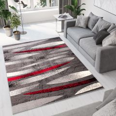 DREAM Area Rug Modern Short Pile Abstract Stripes Grey Red