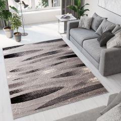 DREAM Vloerkleed Grijs Zwart Lijnen Design Duurzaam Korte Pool